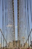 Brooklyn Bridge details over East River of Manhattan from New York City in United States royalty free stock images