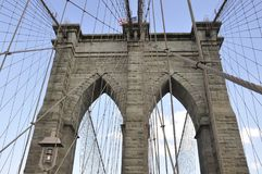Brooklyn Bridge details over East River of Manhattan from New York City in United States Royalty Free Stock Photo