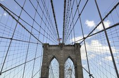 Brooklyn Bridge details over East River of Manhattan from New York City in United States royalty free stock image