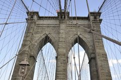 Brooklyn Bridge details over East River of Manhattan from New York City in United States royalty free stock photos