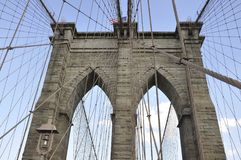 Brooklyn Bridge details over East River of Manhattan from New York City in United States Stock Image