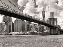 The Brooklyn Bridge and the downtown Manhattan skyline in New Yo Royalty Free Stock Image