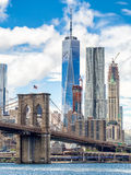 The Brooklyn Bridge and the downtown Manhattan skyline in New Yo Royalty Free Stock Photo
