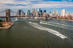 Brooklyn Bridge and downtown Manhattan Stock Images