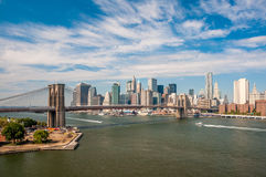 Brooklyn Bridge and downtown Manhattan - view from Manhattan Bri Royalty Free Stock Photo