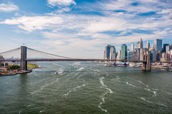 Brooklyn Bridge and downtown Manhattan - view from Manhattan Bri Royalty Free Stock Image