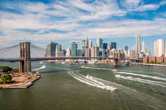 Brooklyn Bridge and downtown Manhattan - view from Manhattan Bri Stock Image