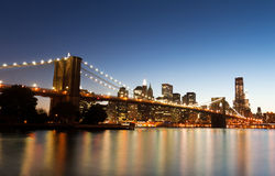 Brooklyn Bridge and Downtown New York Stock Image