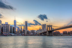 Brooklyn bridge and downtown New York City stock image