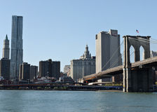 Brooklyn Bridge and downtown skyline Royalty Free Stock Image