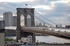 Brooklyn Bridge draped for repairs Stock Photos