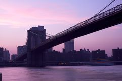 Brooklyn Bridge at dusk Stock Photo