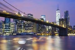 Brooklyn bridge at dusk Stock Photography