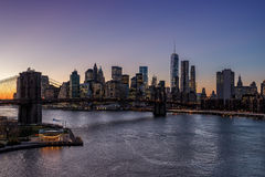 Brooklyn bridge at dusk, New York City Royalty Free Stock Photography