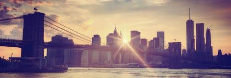 Brooklyn bridge at dusk, New York City Royalty Free Stock Photography