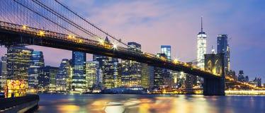 Brooklyn Bridge at dusk Royalty Free Stock Images