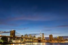 Brooklyn Bridge at dusk viewed from the Brooklyn Bridge Park Stock Image