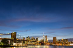 Brooklyn Bridge at dusk viewed from the Brooklyn Bridge Park Royalty Free Stock Images