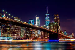 Brooklyn Bridge at dusk viewed from the Park in New York City. Royalty Free Stock Image