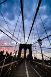 Brooklyn Bridge at dusk Stock Photography