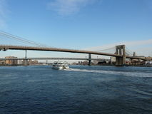 Brooklyn bridge with east river Stock Images