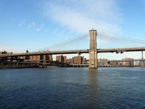 Brooklyn bridge with east river Royalty Free Stock Photo