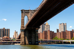 Brooklyn Bridge, East River and part of Lower Manhattan. A view of the Brooklyn Bridge as seen from the Brooklyn side of the East River. As a backdrop we've Stock Photos