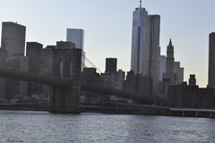 Brooklyn bridge from the East River Royalty Free Stock Image