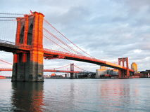 Brooklyn Bridge and East River at sunset, seen from historic Pie Royalty Free Stock Photography