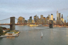 Brooklyn Bridge at evening. Stock Photos
