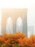 The Brooklyn bridge in the fall New York. USA America Stock Photography