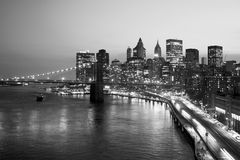Brooklyn Bridge, FDR Drive and Downtown Manhattan Royalty Free Stock Image