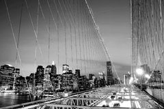 The Brooklyn Bridge Financial District Night Concept Stock Photography