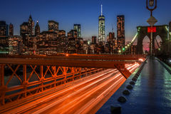 Brooklyn bridge and the financial district Stock Images