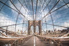 Brooklyn bridge from a fish eye perspective, New York City Royalty Free Stock Image