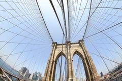 Brooklyn Bridge in fisheye lens. Stock Photo