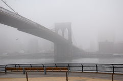 Brooklyn Bridge Fog Royalty Free Stock Photo