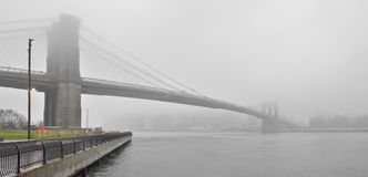 Brooklyn Bridge in a fog. Stock Photography