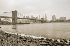 Brooklyn Bridge at foggy day sepia Royalty Free Stock Photo