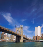 Brooklyn Bridge. Fragment of the Brooklyn Bridge against a blue sky Royalty Free Stock Photography