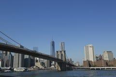 Brooklyn Bridge and Freedom Tower in Lower Manhattan Stock Image