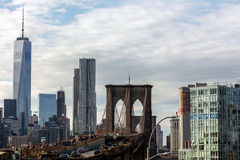 Brooklyn Bridge & Freedom Tower Stock Photo