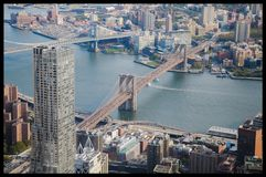Brooklyn Bridge from Freedom Tower. View of the iconic Brooklyn Bridge as seen from the observation deck of One World Trade Center in New York City stock photography