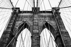 Brooklyn Bridge. The known picture of Brooklyn Bridge connecting Manhattan and Brooklyn district in New York City, USA and with its iconic gate royalty free stock photography