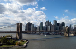 Brooklyn bridge and lower manhattan. In new york Stock Images