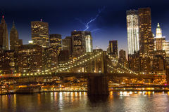 Brooklyn Bridge and Lower Manhattan Stock Photography