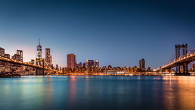 Brooklyn Bridge and the Lower Manhattan Stock Photography