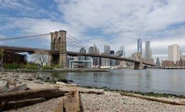 Brooklyn Bridge and Lower Manhattan from the Dumbo Beach. Stock Photo