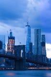Brooklyn Bridge and Lower Manhattan at dusk Stock Image