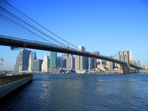 Brooklyn bridge and lower Manhattan, New York Stock Images